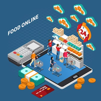 Isometrische zusammensetzung des e-commerce-lebensmitteleinkaufs mit den kunden, die online lebensmittel mit kreditkartenzahlungsterminal kaufen
