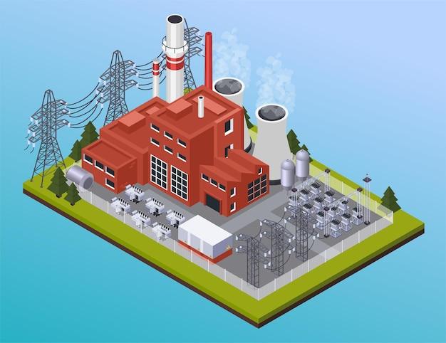 Isometrische zusammensetzung des elektrizitätskraftwerks und der hochspannungsdrähte auf blauem hintergrund der steigung 3d