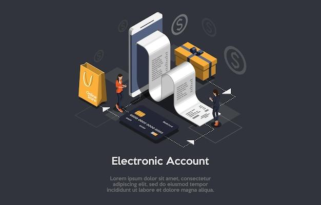 Isometrische zusammensetzung des elektronischen kontos mit großem smartphone mit scheck-kreditkarten-einkaufstasche geschenkbox