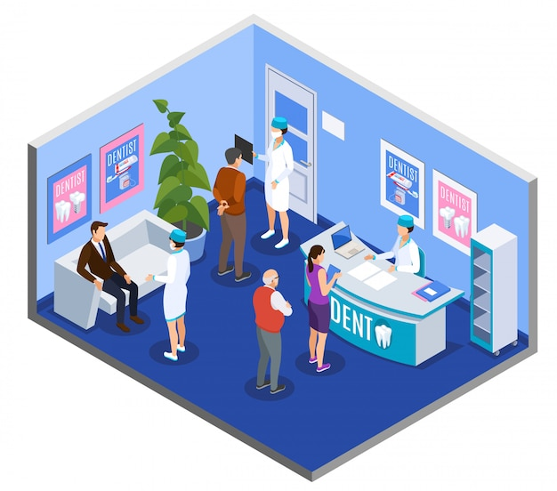 Isometrische zusammensetzung des empfangsbereichs des wartebereichs der zahnklinik mit patienten am schreibtisch, die einen termin vereinbaren