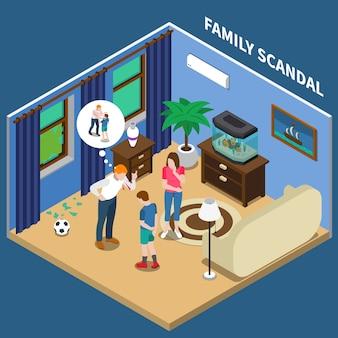 Isometrische zusammensetzung des familienskandals mit vater, der sohn für zerbrochenes fenster schimpft
