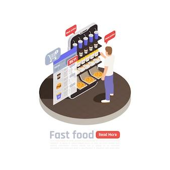 Isometrische zusammensetzung des fastfoods mit mann, der nahe der nahrungsmitteltheke steht und produkte mit den besten preisen auswählt