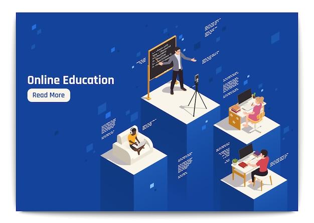 Isometrische zusammensetzung des fernunterrichts mit lehrern, die informationen online erklären, und schülern, die mit ihren computern lernen 3d