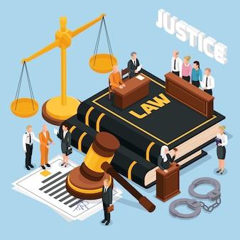 Isometrische zusammensetzung des gerichtsverfahrens der justizjury-gerichtsverhandlung mit richterpolizeiillustration des hammerbalancen-angeklagten