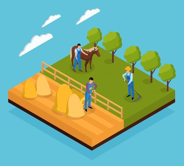 Isometrische zusammensetzung des gewöhnlichen landwirtlebens mit blick auf verschiedene feldarbeiten und tierweidetätigkeiten