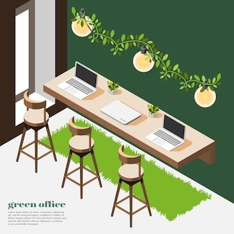 Isometrische zusammensetzung des grünen büros des raumes mit grünen wänden, grasholztisch und stühlen