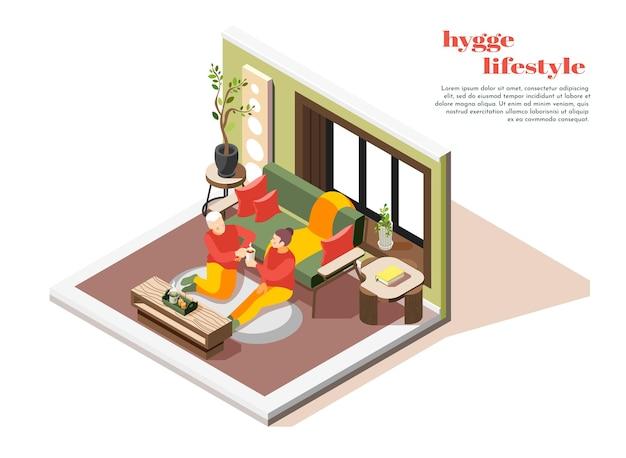 Isometrische zusammensetzung des hygge-lebensstils mit dem paar, das bequem zu hause auf dem bodenteppich sitzt und heiße schokolade nippt