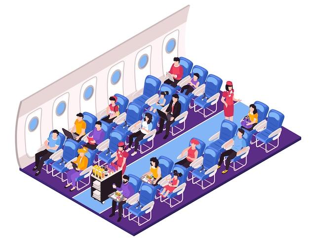 Isometrische zusammensetzung des innenraums des flugzeugsalons mit stewardess der flugbegleiter, die den passagieren während des fluges essen serviert