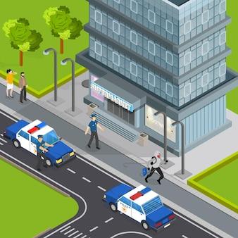 Isometrische zusammensetzung des justizpolizeidienstes mit einbrecher gefangen, handtasche von der fußgängerhaftszene stehlend