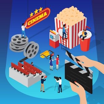 Isometrische zusammensetzung des kinos 3d mit den menschlichen figuren, die den film sitzen auf getränkeschale und hängendem zeichen schießen