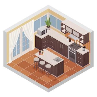 Isometrische zusammensetzung des kücheninnenraums mit stabstand-ofenmikrowelle und regalen für küchengeschirr