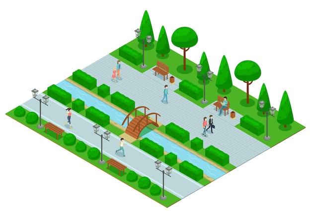 Isometrische zusammensetzung des landschaftsdesignparks mit einem teil des parks mit baumrasen