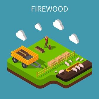 Isometrische zusammensetzung des landwirts mit landarbeiter, der brennholz auf schweinefarm sticht