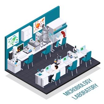 Isometrische zusammensetzung des mikrobiologischen labors mit bioreaktor-elektronenmikroskopiegerät für die aussaat von bakterien und andere wissenschaftliche geräte