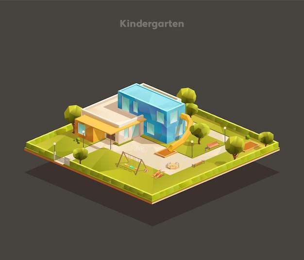 Isometrische zusammensetzung des modernen kindergartens im freien mit spielplatz