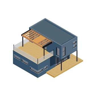 Isometrische zusammensetzung des modularen rahmengebäudes mit isoliertem bild des modernen häuschens, das von den modulen hergestellt wird