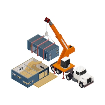 Isometrische zusammensetzung des modularen rahmengebäudes mit lkw-kran-umzugshausabschnitt