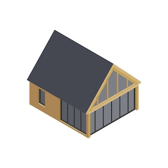 Isometrische zusammensetzung des modularen rahmengebäudes mit lokalisiertem bild des modernen hauses