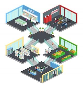 Isometrische zusammensetzung des multistore-supermarktes mit kleidung und milchsymbolen vector illustration