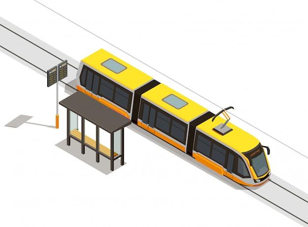 Isometrische zusammensetzung des öffentlichen stadtverkehrs mit blick auf straßenbahnlinie und rollendes material mit durchgangsüberdachung