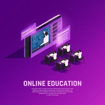 Isometrische zusammensetzung des on-line-bildungsglühens mit futuristischem begrifflichklassenzimmer mit studenten und lehrer auf schirm