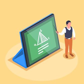 Isometrische zusammensetzung des online-lernens mit tablet- und mathematiklehrer, der zeiger hält