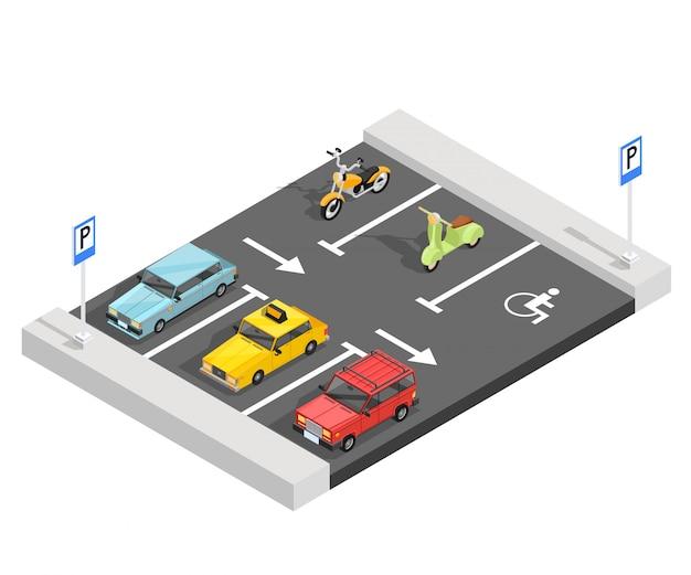 Isometrische zusammensetzung des parkplatzes