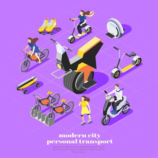 Isometrische zusammensetzung des persönlichen transports mit monocycle-fahrrad-skateboard-rollschuh-rollern und frauenfiguren