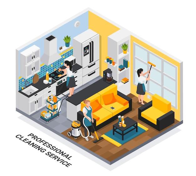 Isometrische zusammensetzung des professionellen reinigungsdienstes mit innenansicht der privaten wohnung, die von der arbeitergruppe gereinigt wird