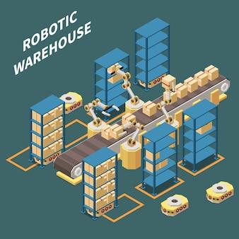 Isometrische zusammensetzung des roboterlagers mit der vektorillustration der roboterverpackungswaren 3d