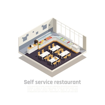 Isometrische zusammensetzung des selbstbedienungsrestaurants präsentiert das interieur eines gemütlichen fast-food-restaurants