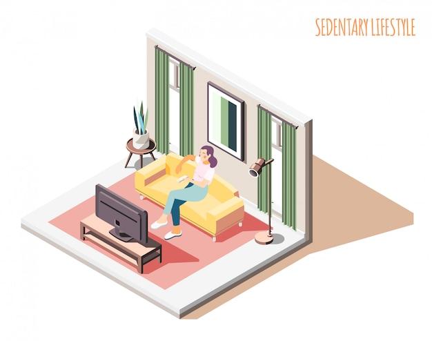Isometrische zusammensetzung des sitzenden lebensstils mit frauencharakter, der auf sofa mit häuslicher innenumgebung und text sitzt