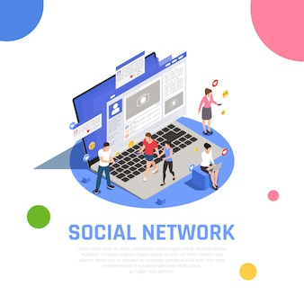 Isometrische zusammensetzung des social media-netzes auf laptop mit anwendern mit smartphone-sucht, die das mitteilungs-teilen mitteilen