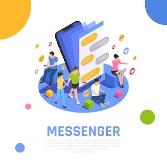 Isometrische zusammensetzung des social media-netzwerks mit messenger-anwendungen, die auf dem smartphone-bildschirm geöffnet sind und benutzer kommunizieren