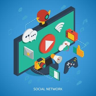 Isometrische zusammensetzung des sozialen netzwerks