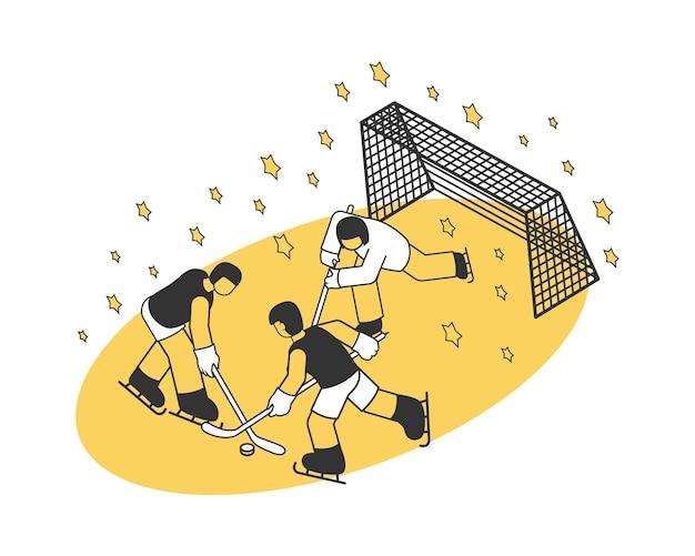 Isometrische zusammensetzung des stadions mit drei leuten, die hockey spielen 3d