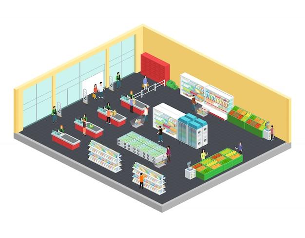 Isometrische zusammensetzung des supermarktes mit lebensmittel- und getränkesymbolen vector illustration