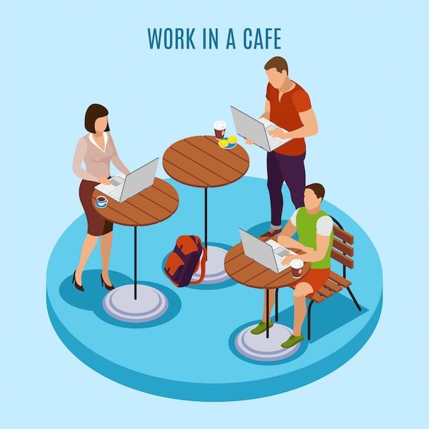 Isometrische zusammensetzung des üblichen tages des freiberuflers mit dem arbeiten an dem laptop im freien an den bistrocafé-terrassentabellen