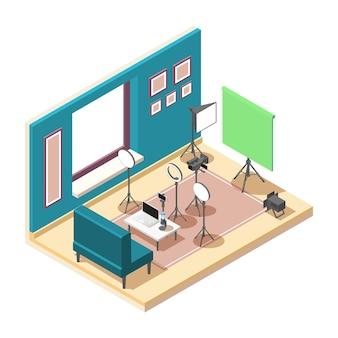 Isometrische zusammensetzung des vlogging-studios mit ausrüstung zum aufnehmen von video-3d-illustrationen