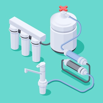 Isometrische zusammensetzung des wasserfiltersystems und des wasserhahns auf farbiger 3d-darstellung