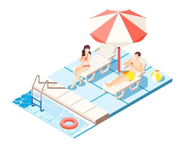 Isometrische zusammensetzung des wasserparks mit symbolillustration des schwimmbades und der chaiselongues