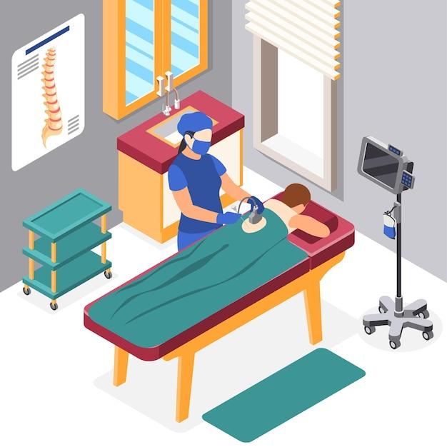 Isometrische zusammensetzung des weltkrebstags mit symbolen für medizinische behandlung und gesundheitsuntersuchung