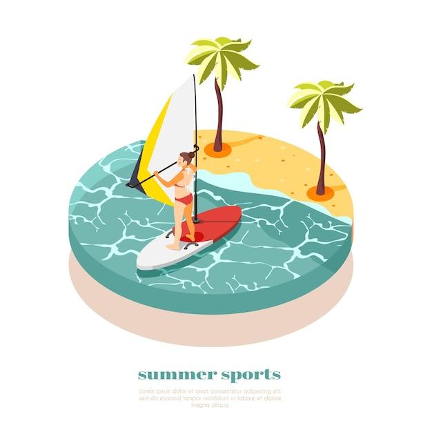 Isometrische zusammensetzung des windsurfens mit der jungen frau im badeanzug auf dem windsurfbrett an der südsee