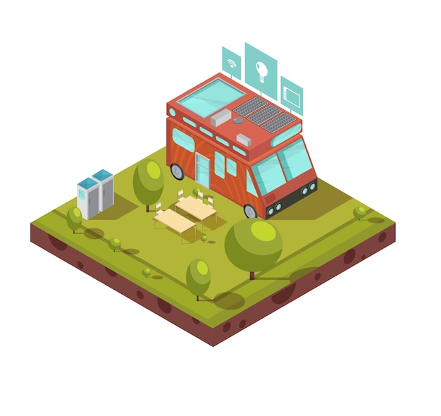 Isometrische zusammensetzung des wohnmobils einschließlich packwagen mit wifi solarbatteriecampingplatz und technologieikonen vector illustration