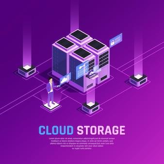 Isometrische zusammensetzung des wolkenbüroglühens mit servereinheiten und menschlichem charakter mit fernbedienung