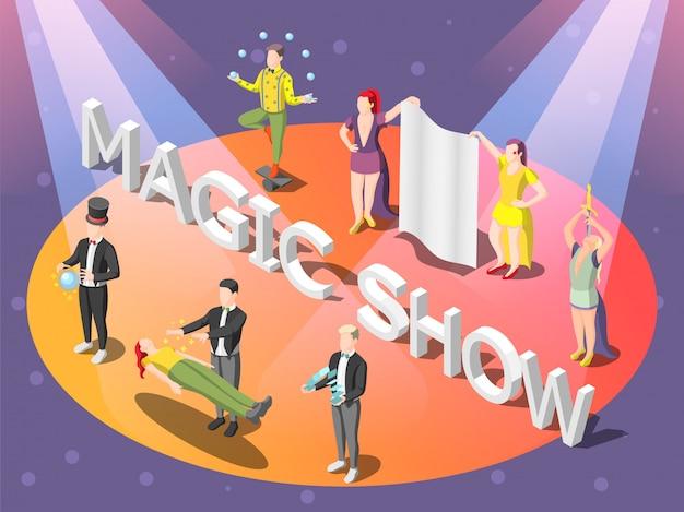 Isometrische zusammensetzung des zauberkünstlers auf orange kreis mit levitation, tricks mit ball und karten, dolchschlucken
