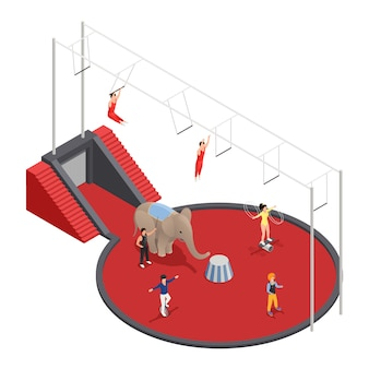 Isometrische zusammensetzung des zirkus mit luftakrobatenelefanten mit dem trainer und clown, die an der arena durchführen