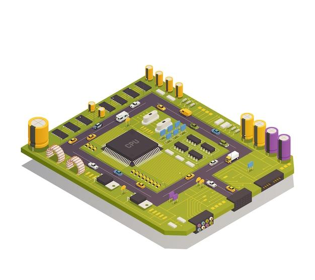 Isometrische zusammensetzung elektronischer halbleiterkomponenten