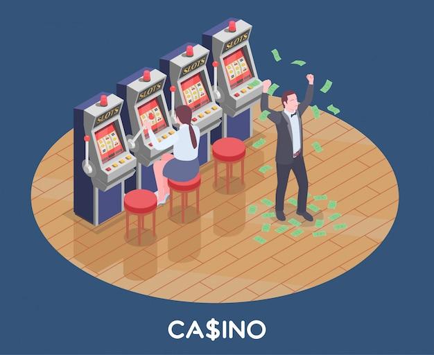 Isometrische zusammensetzung mit frau, die spielautomatenspiel spielt und mann gewann geld im kasino 3d