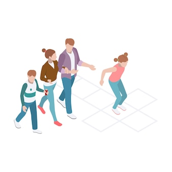 Isometrische zusammensetzung mit gehender familie und mädchen, die hopscotch spielen